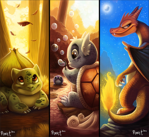 thenintendard:  Bulbasaur. Wartortle. Charizard by Cryptid-Creations