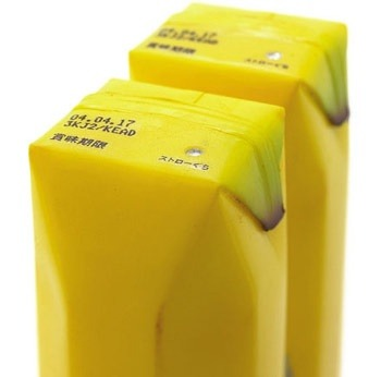 banana juice packaging 「み」 At the Takeo Paper Show 2004 in Japan, a company has unveiled the fourth version of their drink-box that looks and feels like the source of the juice it contains. They have also developed Kiwi, Strawberry and Tofu style drink boxes.