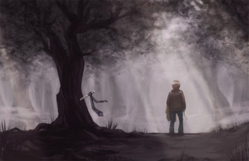"ravenno:  more ""Meanwhile in Purgatory"" - final version  Dean had always been a magpie of memories: What others discarded he held close, and carried with him wherever he went. Trenchcoats. Flasks. Lynyrd Skynyrd mix tapes. It didn't matter so much the object or its use, only that it had once been important. After all, Dean knew what it was to be left behind, and he also knew, better than anyone, that these things could still have power—even if only what he alone gave them. But in Purgatory, sentiment was no luxury. What you carried with you was often your greatest weakness. Even Dean understood that here, there were only two objects worth a damn: Your knife and your coat. How to kill, and how to hide. And apparently Cas had left both behind.   ""Cas,"" Dean shouted. His voice came out high and reedy, but he didn't care. ""Cas! Where are you, man? Cas?"" But the angel did not answer. The only sound was the tie on his stuck blade, flapping like a half-mast flag. Dean yanked the angel blade from its purchase and peered between the trees, looking for a flash of skin, a flutter of white. But the underbrush offered nothing—only fog, vast and thick, and studded with fireflies. ""Dammit."" He heaved a ragged sigh and picked up the trenchcoat, because he didn't know what else to do, because some habits were hard to break, because he'd only just returned it, after all, and wasn't that rude, to leave such a recent gift behind? Part of me always believed you'd come back. The words rattled around in his mind like something caught in Baby's engine. As soon as he'd said outside the hospital, Dean knew he'd jinxed it. Good luck never lasted. Good luck was always just a curse in disguise. And right now he couldn't help but remember what else he'd thought that night but hadn't said: Part of me always knew you'd leave for good.  ""Dammit,"" Dean muttered again and drew the machete from his coat. He stared down the trail, searching, but a diffuse light from somewhere high above made the path before him hazy and hard to follow. His fist clenched in the trenchcoat. He tried not to scream. The fireflies didn't seem to care about his panic, however, and nor did the fog. It moved closer, curling around him – it even seemed to sway, and dance. It seemed alive. Dean frowned down at the vaporous glow for a long moment. Then, in a rush, it dawned on him. ""You're a wavelength,"" he breathed, ""of celestial intent."" A swirl of fog suddenly somersaulted, sweeping high up to the treetops, and Dean's shoulders sagged. He turned away to hide his relieved smile. ""Cas, you jackass."" He sighed and rolled his eyes. ""You could've warned me, you know."" The fog swirled again, all colors and none. Then it parted, revealing a muddy trail that disappeared into the dark gloom of trees. Dean smirked. ""Apology accepted,"" he said, sliding the angel blade into his jacket and balling up the trenchcoat. ""Even if I'm still stuck carrying your shit."""