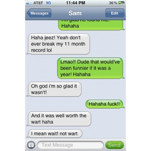 staygoldenponies:  #wtf #instaFAIL #autocorrect #fail #texting #Sam #bestie4Lyfe #screenshot (Taken with Instagram)  love me some genital warts ya'll
