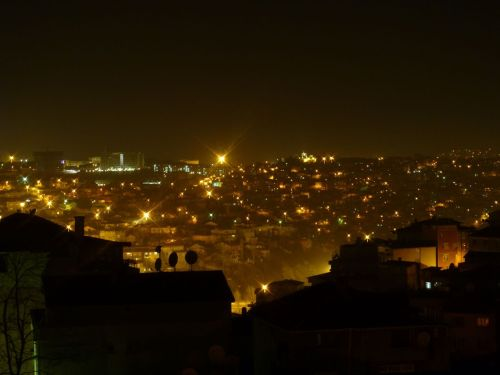 Night shot of Istanbul, Turkey from my friend Erik's apartment.