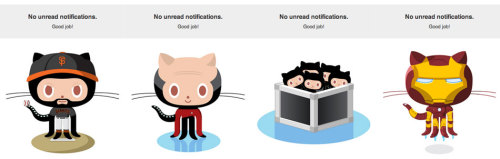Github shows a different Octocat whenever you have no new notifications. /via Ian Storm Taylor