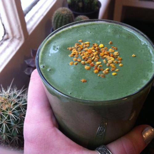 I am currently living off blended superfoods.  -spinach -avocado -fresh dates -strawberries  -banana -active greens powder -bee pollen - hemp seeds