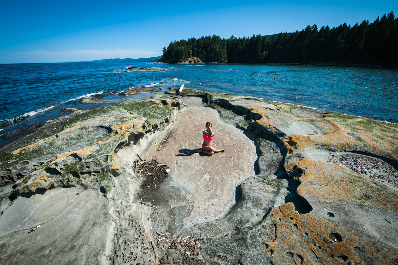 Gomukhasana - Cow Face Pose  at Coon Bay, Galiano Island