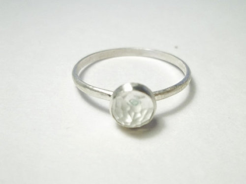 5mm Rose Cut White Topaz on Handforged Argentium Sterling Silver Ring