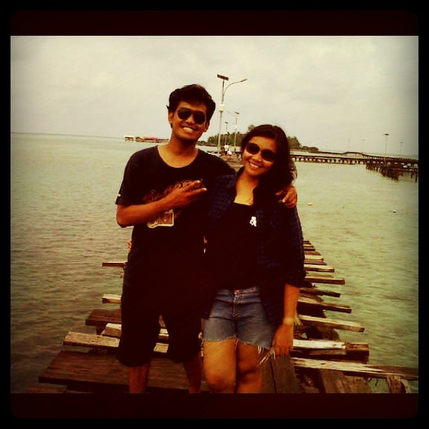 On #vacation at #tidung #island one of #thousand #island at #north #jakarta #instagram #iphonesia #igers #instanusantara #beach #view #couple #love #broken #wood #bridge #sea #summer (Taken with Instagram)