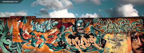 Awesome Graffiti Art On Rusted Wall Facebook Cover
