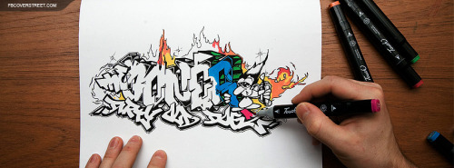 Graffiti Artist Drawing On Paper Facebook Cover