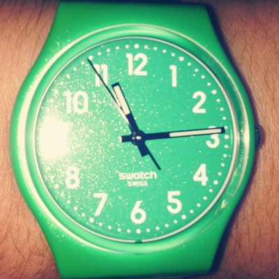 swatch:  Well done!!! you got the latest FLAKY GREEN watch from the Swatch metalized collection, just the perfect accessory for the summer parties