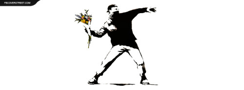 Banksy Graffiti Throwing Flowers Facebook Cover