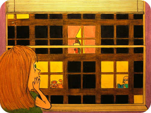 """Other People's Lives"" Sarah looks out her window, at the building across the wayShe sees people quietly existing, at the end of a long day. Most of the rooms are dark, or behind their blinds they hideBut some are living wide open, letting Sarah take a peek inside.She wonders who they are, and what sort of lives they've ledAs they mill about, she tries to imagine whats in their head. What are or were their dreams? Are they experiencing a private hell?That old lady is always alone… at least as far as Sarah can tell.What was her childhood like?  Have they ever been in love…? She hopes the reality's better, than anything she can conceive of. The kitty cat catches her peeping, and peers right into her soulThen it yawns and stretches languidly, lazily eating from its bowlShe wonders if the man fought in the war, as he seems to be that ageSarah tries to delve into his memories, while he reads and turns the page. So many different lives to imagine, and the thought haunts her to the boneEventually she stops watching other people, and goes back to living her own. Posted 8/9/2012 Wanna appear in your very own Daily Doodle?  CLICK HERE!FAQ  TWITTER  FACEBOOK  SOCIETY6"