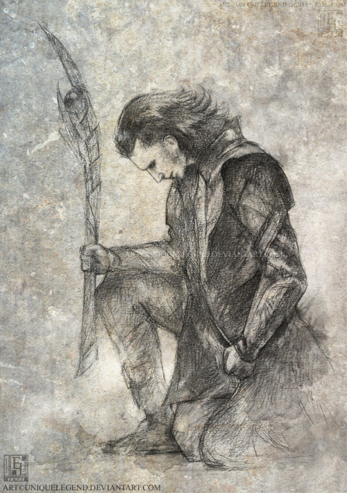 Rough charcoal sketch of Loki on textured paper.