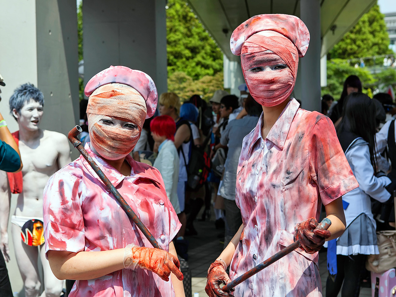 Silent Hill cosplay nurses today at Comiket in Tokyo.