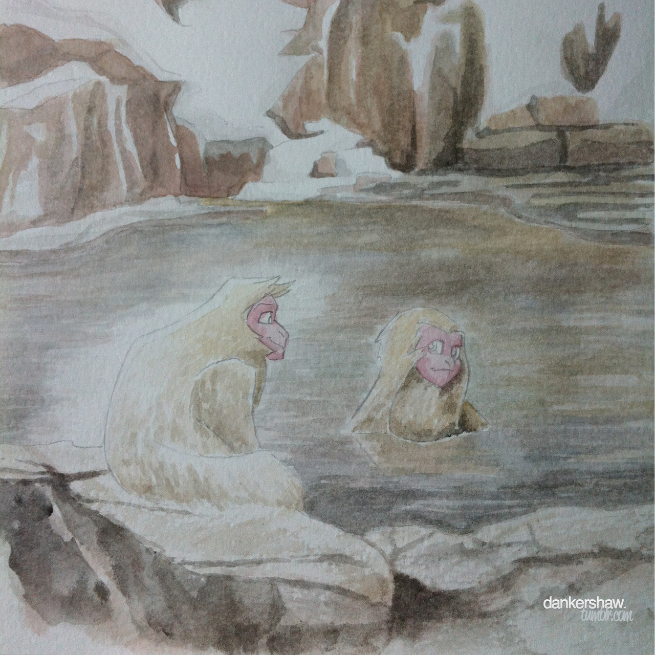 Japanese Macaque | Hot Springs  I love these little monkeys. Watercolour sketch inspired by this picture. I should probably ink this.
