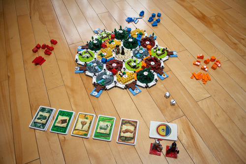 seenontabletop:  When geek worlds collide - lego Catan!