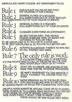 explore-blog:  10 Rules for Students and Teachers (and Life) by John Cage and Sister Corita Kent