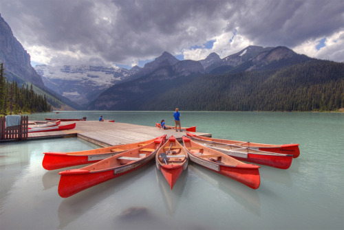 animageofyou:  red canoes at banff national park