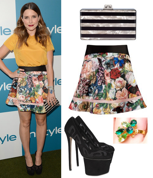 Sophia Bush attends the 11th Annual InStyle Summer Soiree on Wednesday in a Ted Baker top and Larinda Decoupage Print Skirt (£99), Olcay Gulsen Fall 2012 heels, Nola Singer jewellery including an Adrienne Ring ($245) and an Edie Parker 'Jean' striped clutch FYI: When you buy Nola Singer jewellery from the official website, 20% of the sale goes to a charity of your choice!