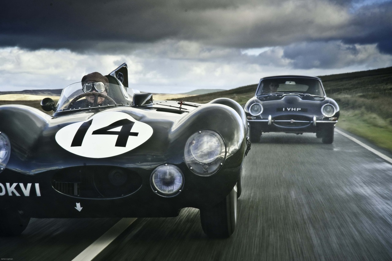 Jaguar D-Type & E-Type, North Wales, photo by James Lipman. The D-Type car was produced to extend and deepen the success of the C-Type — and it immedi­ately performed well. In its first appearance at Le Mans in 1954, the Jaguar team's cars suffered, appar­ently, from sand in their fuel. Once this problem had been rectified, however, this car (No 14, driven by Duncan Hamilton and Tony Rolt) immedi­ately reestab­lished itself. Eventually it finished less than one lap down on the winning Ferrari.