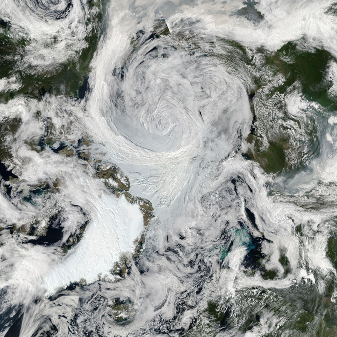 Summer Storm Spins Over Arctic     An unusually strong storm formed off the coast of Alaska on August 5 and tracked into the center of the Arctic Ocean, where it slowly dissipated over the next several days.   via.