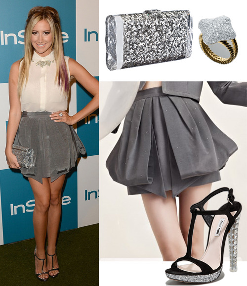 Ashley Tisdale attends the 11th Annual InStyle Soiree on Wednesday in an Erin by Erin Fetherston Fall 2012 top and skirt, metallic Miu Miu t-strap sandals with clear heels (nude suede version, $445, U.P. $990), a David Yurman Pave Quatrefoil Ring ($6900), a House of Lavande necklace and an Edie Parker 'Lara' clutch with ice edges