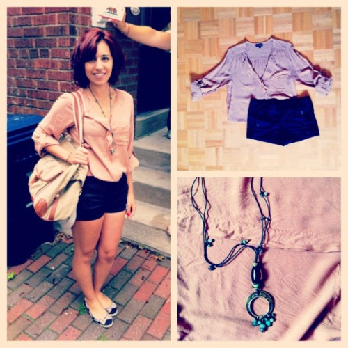 #day5 #pink #blouse #necklaces #shorts #flats  (Taken with Instagram)
