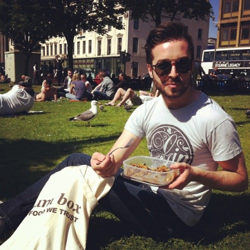 marc-cairns:  Sunny Alfresco Friday with @gnambox… :) #glasgow #scotland #summer #sun #food #infoodwetrust #picnic #outdoors #guy #beard #eating #gin #tshirt (Taken with Instagram at George Square)