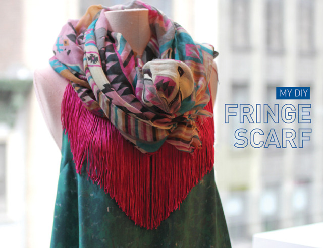Fringe Scarf | I Spy DIY Scarves are quite big in my office right now - you'll find at least three people wearing one on any given day! I personally love them - they dress up an otherwise boring outfit in a snap and the heating/cooling in the office can go from 10 degrees to 30 in an hour so it's great for maintaing comfort too! This fringe scarf is no sew - just heat bond, coordinating fringe and you're done!