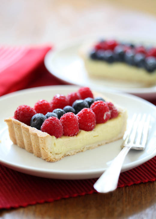 omnommy:  Raspberry, white chocolate and blueberry tart.