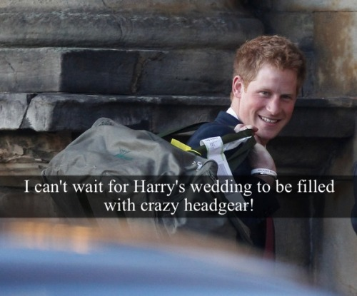 "royal-confessions:  [Post by Mary] ""I can't wait for Harry's wedding to be filled with crazy headgear!"" — Submitted by Anonymous"