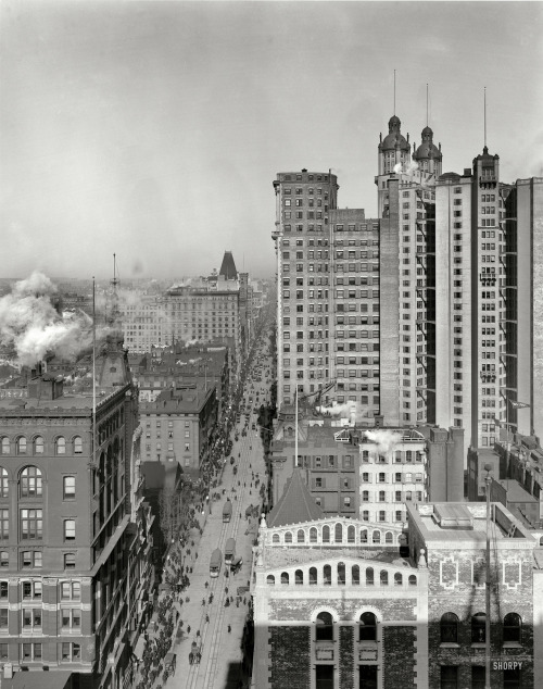 "via SHORPY: New York circa 1901. ""Up Broadway."" The St. Paul and Park Row buildings, world's tallest at the time. Detroit Publishing glass negative."
