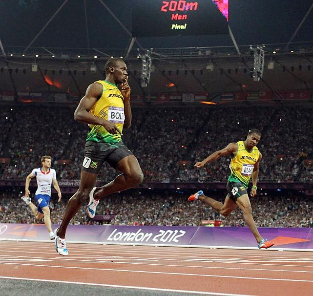 Usain Bolt races to a gold medal during the 200-meter dash on Thursday, becoming the first man to repeat as 100 and 200 champion in consecutive Olympics. (Simon Bruty/SI) GALLERY: London 2012 Olympics Games Day 13 | Day 12 | Day 11 | Day 10 | Day 9 LAYDEN: Bolt silences critics and completes an unprecedented state of dominanceVIDEO: Is Bolt the greatest sprinter in Olympic history? | What to Watch: Day 14