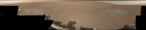 First panorama from Curiosity – go to the source for full size and full effect. And if you're curious about why NASA only included a two megapixel camera on-board, check out this article from The Verge. In short: the spec had to be agreed on eight years ago and they're limited to transmitting only 31.25MB per day from MARS.