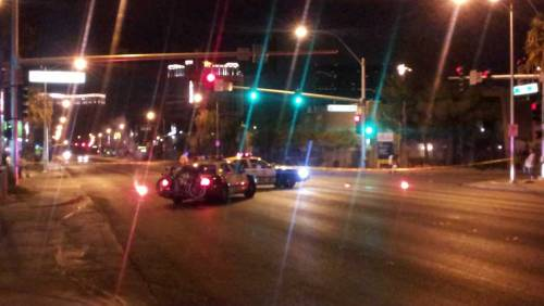 A scuffle at a party east of the Las Vegas Strip resulted in the shooting death of a man early Friday morning. Las Vegas Metro police reported the shooting outside the Twain Palms Apartments on Twain Avenue near Swenson Street just after 2 a.m. Details: http://www.fox5vegas.com/story/19245141/1-dead-in-shooting-east-of-vegas-strip