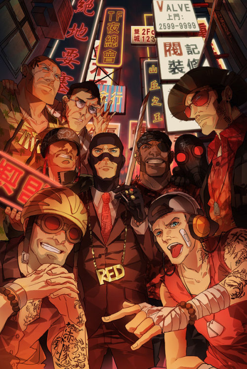 nerdwire:  With TF2's new Triad update coming out artist, Inklou shot up this awesome piece inspired by Kong King, the new map.  Check it out in full glory over on Inkou's gallery or hit up his tumblr and follow the heck outta him! We're Gon Run This Town Yo by Inklou