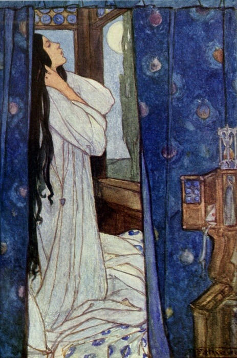 indigodreams: wasbella102: 1911 Florence Harrison (English Art Nouveau/Pre-Raphaelite illustrator, 1877-1955) ~ Mariana; for Alfred Lord Tennyson's 'Guinevere and Other Poems'