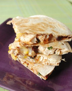 Pineapple and chicken quesadillas.