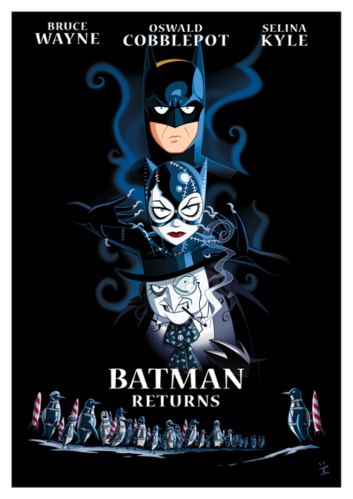 Awesome animated style Batman Returns movie poster! http://weheartit.com/entry/34611400