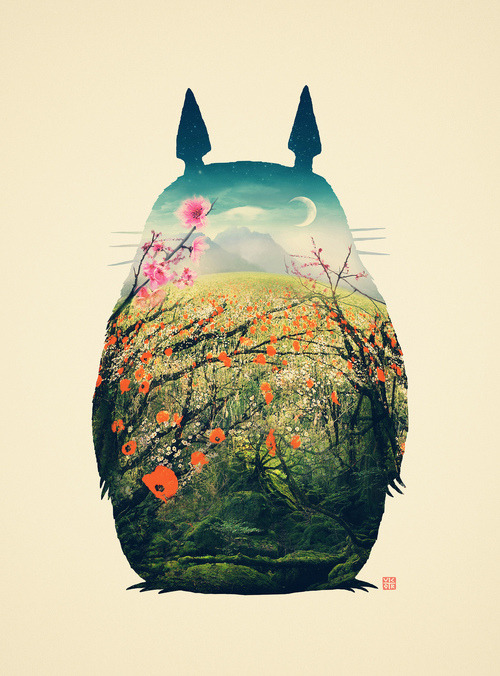 gaksdesigns:   Tonari no Totoro / Artist on Tumblr    Think this idea of putting the environment inside the animal rather than vice-versa is a clever way of mixing things up!