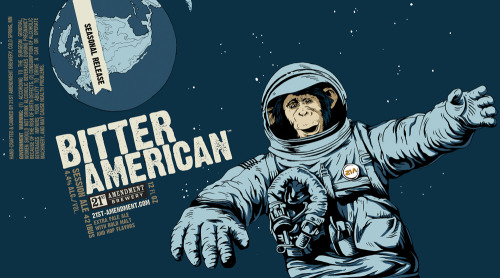 Chimp Astronaut Spaces Out in 21st Amendment Brewery's 'American Icon' Artwork