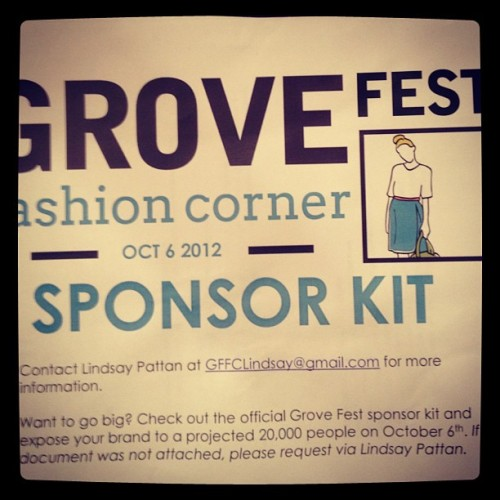 Want to go big? Check out the official Grive Fest sponsor kit and expose your brand to projected 20,000 people on October 6th. #stltweets #grovefestfashioncorner #sponsors #food #music #art #fashion #stl #thegrove (Taken with Instagram)