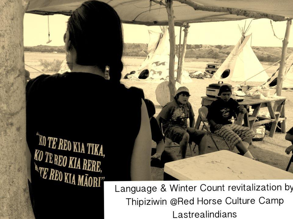 Thipiziwin Young (YellowLodge woman) presents to Red Horse Culture Campers re Language & Winter Count revitalization. Thipiziwin (D/Lakota) is an hereditary Winter Count keeper on her Yellow Lodge side, also a graduate of Sitting Bull College's Lakota Language Program.