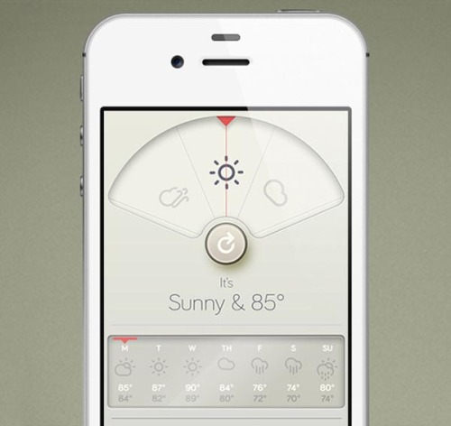 iPhone App Design Designer David Elgena designed and developed this iPhone weather app. The app design is inspired by Dieter Rams's legendary BRAUN designs. The user interface is well design and it looks really like an old BRAUN gadget. Especially all the small weather symbols are lovely designed. You can download the app in the Apple App Store. via: WE AND THE COLORFacebook // Twitter // Google+ // Pinterest