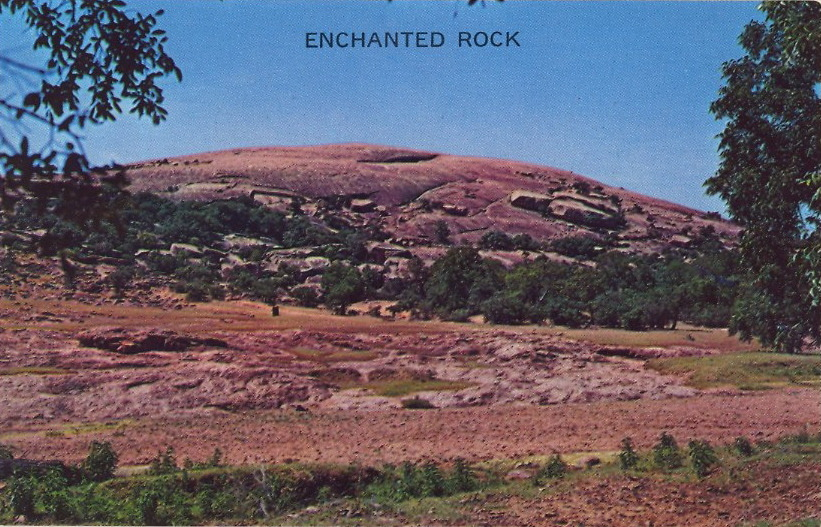 ENCHANTED ROCK  Enchanted Rock is located off highway 16 between Llano and Fredericksburg, Texas. Largest Granite Mountain in the Southwest, 500 feet high covering 640 acres. Enchanted Rock has two caves and many curious boulders, and the name is derived from famous Indian Legends. Captain Hayes repulsed a band of Indians here in 1841. Tourists and vacationers can enjoy this gigantic Enchanted Rock with its many beautiful shade trees, running spring water and picnic grounds.  Repulse the Indians, then names rocks after their legends.