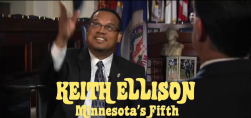 Rep. Keith Ellison on The Colbert Report (throwing a Mary Tyler Moore hat in the air)