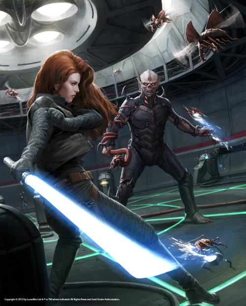 lanewinree:  clubjade:  In light of our recent post on Mara Jade and the catsuit, Del Rey's Erich Schoeneweiss shared with us this Darren Tan piece from the upcoming (Oct. 2) Essential Reader's Companion.  SO MUCH BETTER.  I love this piece. No catsuit. Functional clothing (SLEEVES! POCKETS!) that look really cool.