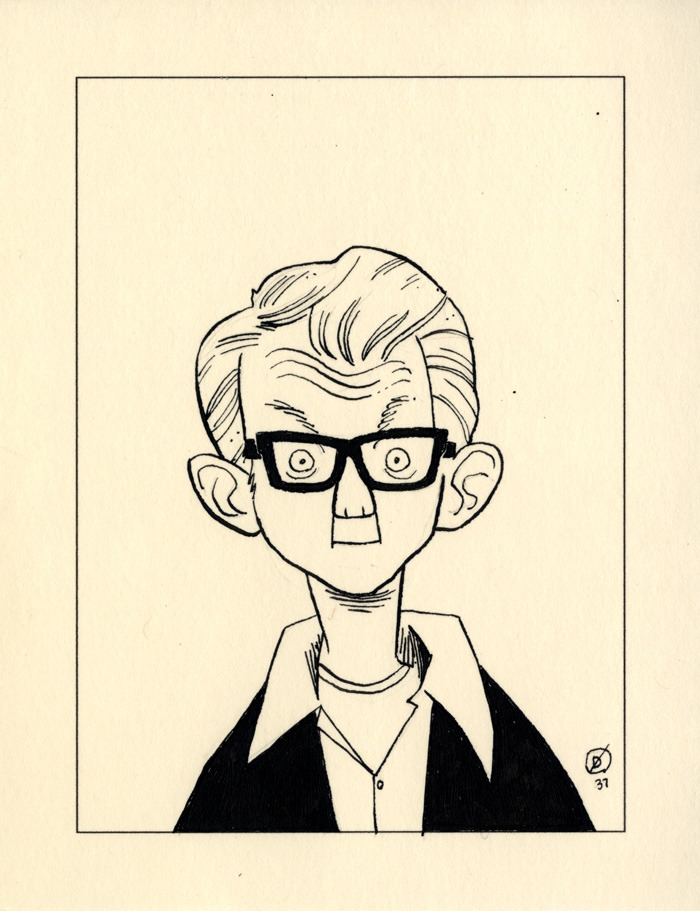 "NICK LOWE. One of the twenty dollar sketches I do; you can buy one here, and see all the ones to date here. Subject suggestion: ""Nick Lowe (older)."" It was surprisingly hard to keep this from looking like Elvis Costello."