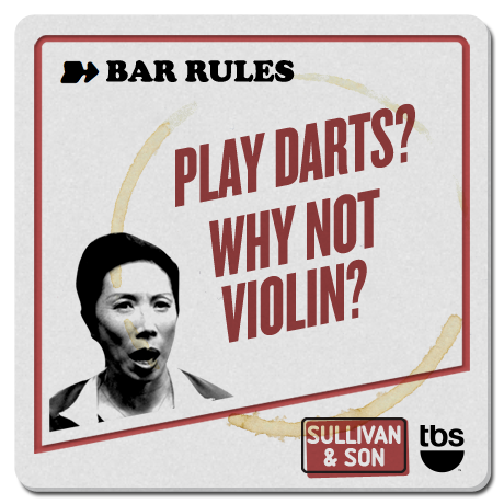 Play darts? Why not violin?  #SullivanandSon on TBS - New Series Thursdays at 10/9c