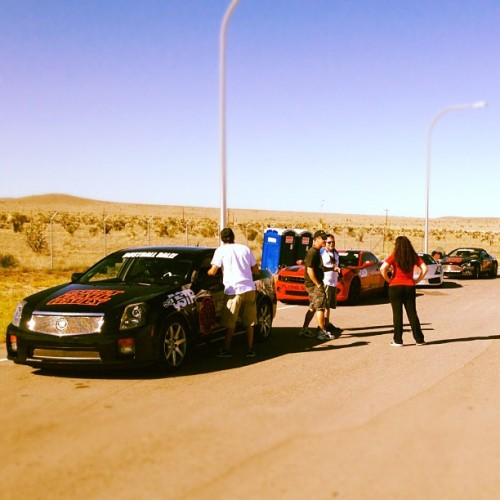 #DustballRally Recap Day 1: Post police escort, the #rally lines up outside a  border checkpoint outside of El paso. #Cadillac #CTSV #Chevrolet #Chevy #Camaro #Lamborghini #Lambo #Gallardo #AstonMartin #Aston #Vantage #Roadster (Taken with Instagram)