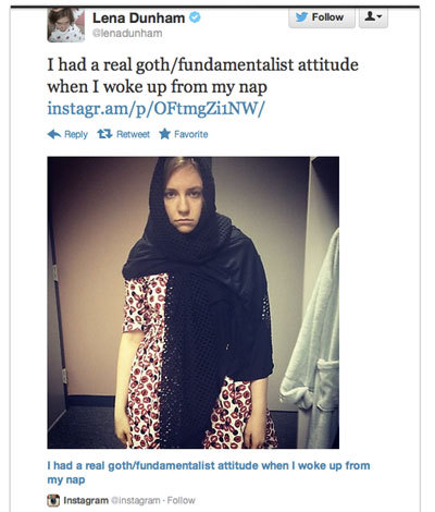Lena Dunham Tweets Pic Of Herself In Veil, Makes Dumb Joke About Muslims - The Frisky